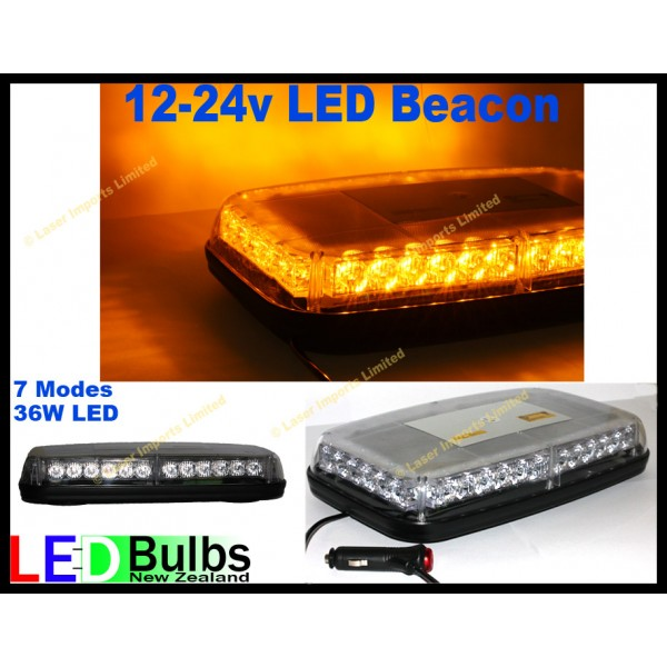Flashing amber beacon strobe light bar – 36 LED magnetic 12-24v