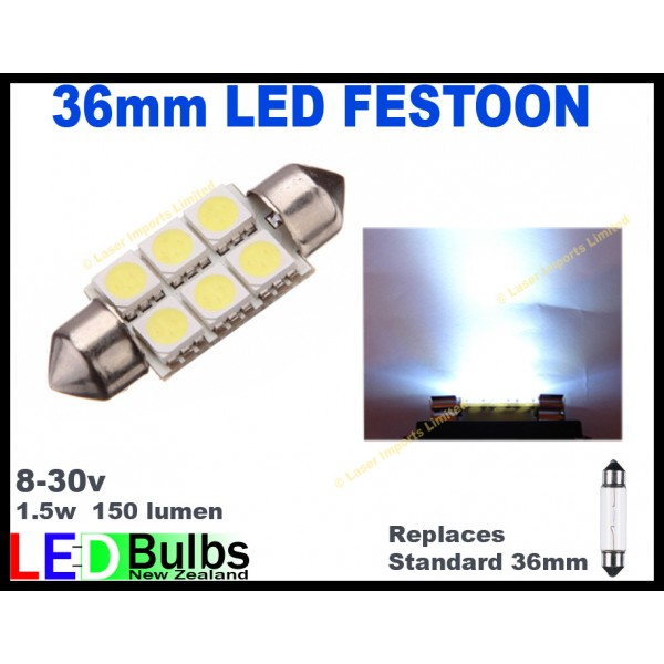 37mm Festoon 8-28v. 6 SMD leds