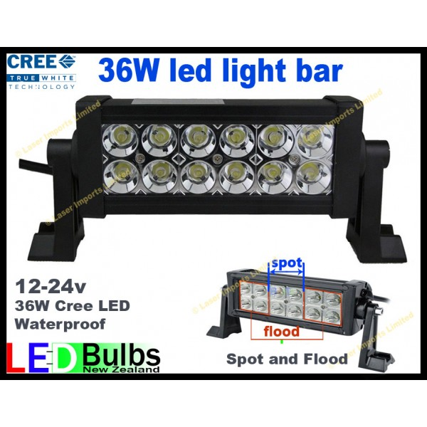 36W LED light bar 12-24v Spot and Flood light
