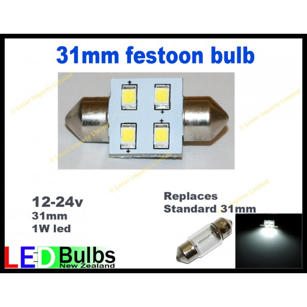 31mm Festoon 1 Watt led Multi voltage