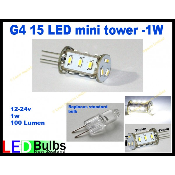 G4 vertical mini tower bulb 15 leds 12 and 24v