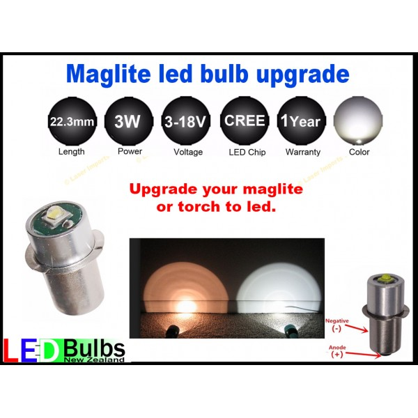 Maglite led bulb upgrade,2-6 Cell (C or D)