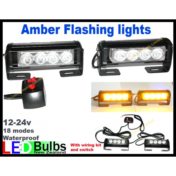 Amber LED grill flashing lights with mount & switch