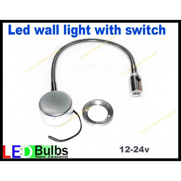 Led flexi wall light with built in switch 12-24v