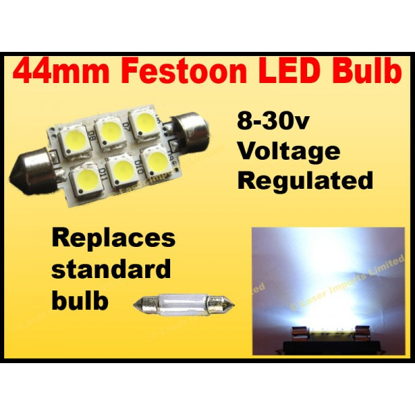 44mm Festoon 8-28v. 6 SMD leds