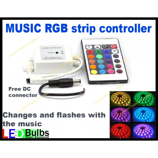 RGB remote with music sensor 24 Button +free