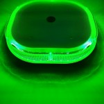 GREEN LED flashing beacon 10-30v super bright 48w. ECE R10 approved