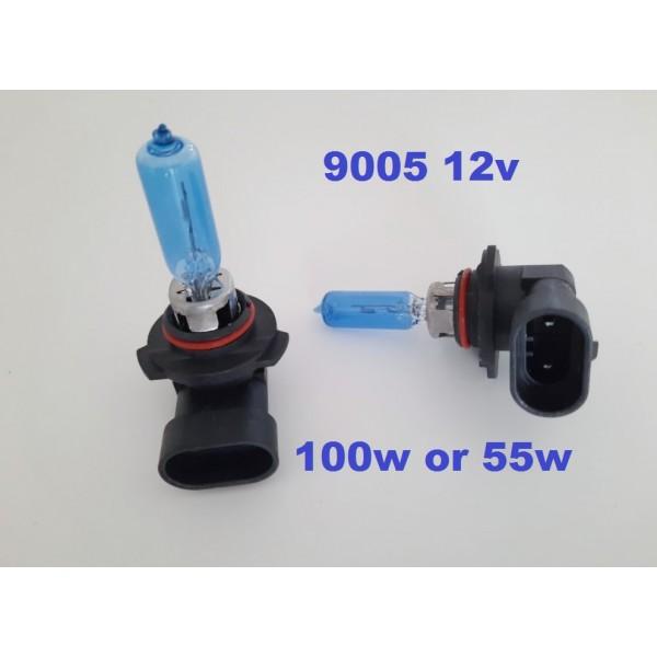 9005 55w & 100w - Ice white bulbs - with 2x free LED park light bulbs