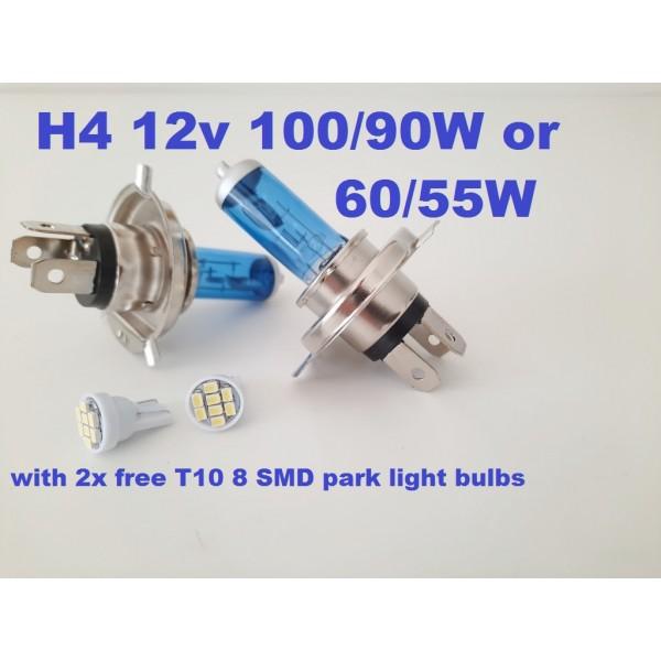 H4 -100W  bulbs - with 2x free 8 LED park light