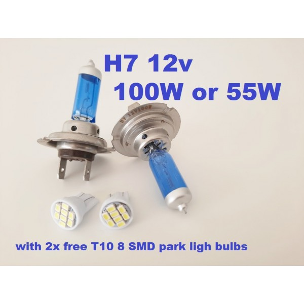 H7 - Ice white bulbs - with free LED park light