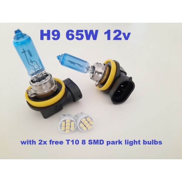 H9 - Ice white bulbs 65w - with free LED park light
