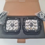 """2pce AURORA LASER LED 5"""" driving lights 12-24v complete with wiring harness"""
