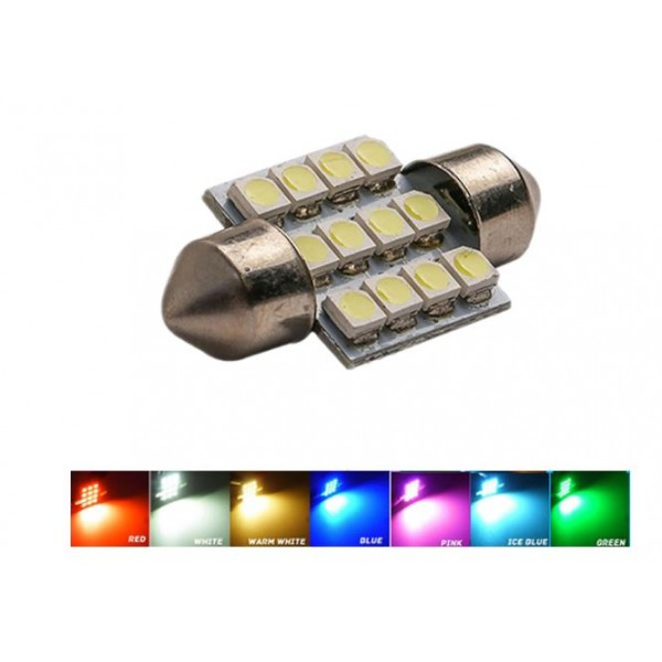31mm festoon 12v 1w 12 LED's